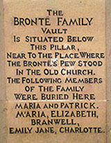 Plaque on the wall above the Bronte vault
